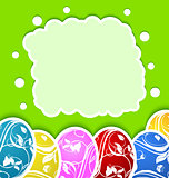 Easter card with set colorful ornate eggs