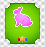 Easter card with colorful rabbit and eggs