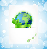 Green earth with leaves wrapped ribbon