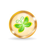 Golden circle label (button) with butterfly