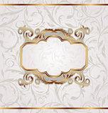 Golden retro frame, seamless floral texture