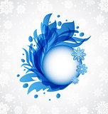 Winter floral blue transparent frame