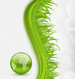 Abstract brochure with global planet and grass