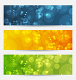 Set of abstract backgrounds with bokeh effect