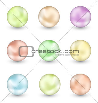 Group of colorful pearls isolated on white background