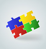 four colorful puzzle pieces