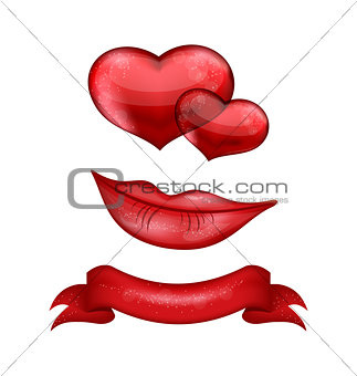Set of red hearts, lips, ribbon isolated on white background