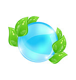 Water bubble with eco green leaves