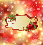Greeting elegant card with mistletoe and Christmas bal