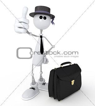 3d little man businessman.