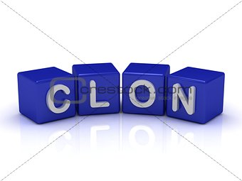 CLON word on blue cubes
