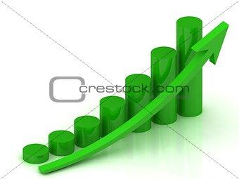business graph with green pillars