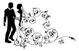 Silhouette bride and groom wedding couple