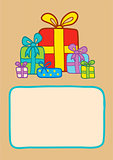 Gifts on a striped backround