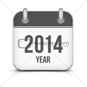 2014 Year Vector Calendar App Icon With Shadow