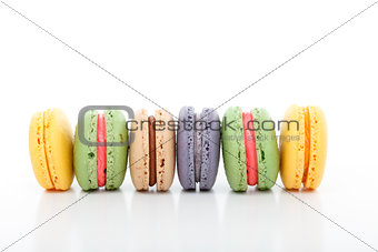 Assorted variety macarons macaroons in a row