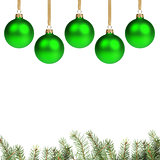 green christmas balls with twig