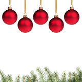 red christmas balls with twig