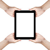 four man hands holding generic tablet pc