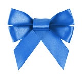 blue festive bow made from ribbon
