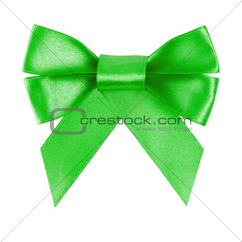 green festive bow made from ribbon