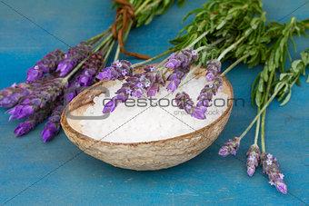 Lavender flowers with sea salt close up