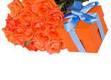 orange roses with present box