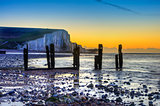 Winter sunrise at low tide at Seven Sisters cliffs