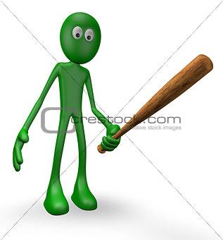 green guy with baseball bat