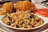 Blackbean quinoa salad with fried chicken