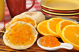 Orange marmalade on an English muffin