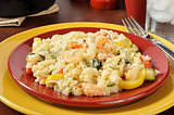 Plate of garlic shrimp risotto