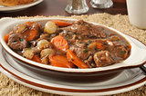 Beef stew bourguignon closeup