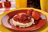 Strawberry jam on a rice cake