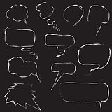 set of speech bubbles on black background