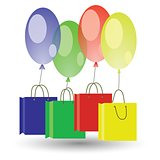 balloons and shoping boxes on white background