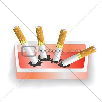 ashtray and cigarettes