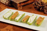 Celery with cream cheese and peanut butter