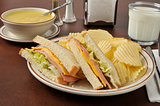 Bologna sandwich with chicken noodle soup