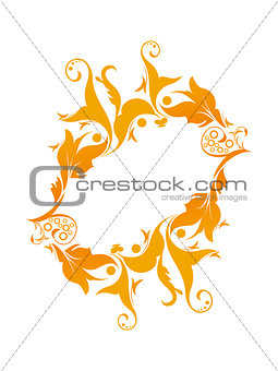 abstract orange floral circle