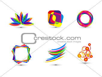 abstract colorful business icon template