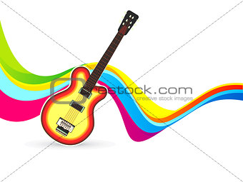 abstract colorful wave background with guitar