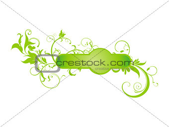 abstract green floral based shape