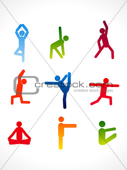 abstract colorful yoga angles