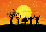 Halloween with silhouettes of children