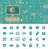 Circuit Board with a Personal Computer and Social Media Icons