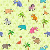 Seamless different animal pattern