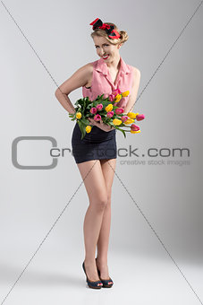 blonde pin-up with flowers