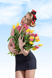 adorable pin-up with colourful bouquet