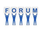 Men holding the word forum.